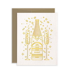 Hooray Champagne Letterpress Celebration Card