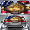 American Flag Bass - Car sun shade