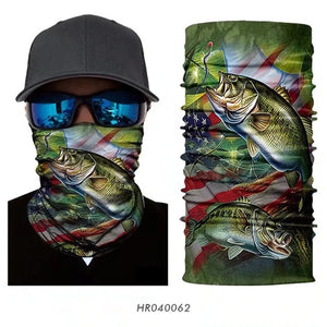 3D Fishing Neck Gaiter Scarf Bandana Face Covering Seamless UV Protection