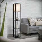 Wood Shelf Floor Light Fabric Shade Lamp Storage Living Room Home Office Black Organizer Decor