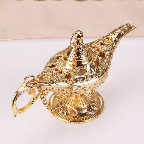 Colorful Metal Genie Magic Lamp Retro Wishing Oil Lamp Pot Incense Burner Home Decor Collection Souvenir
