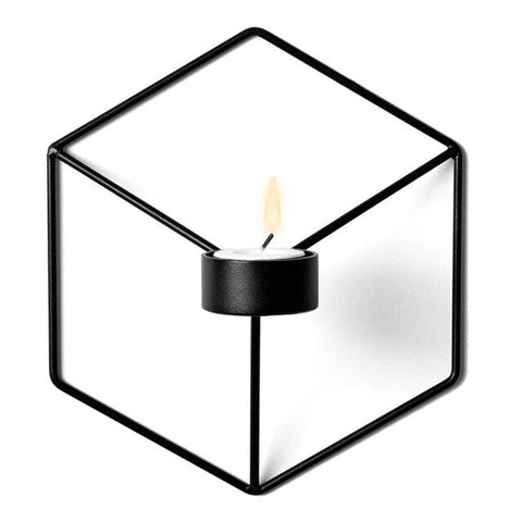 Metal 3D Geometric Candlestick Wall Candle Holder Sconce Matching Small Tealight Home Ornaments