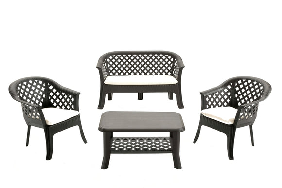 Veranda Set Anthracite With Ivory Cushions