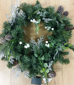 LED Frosted Woodland Wreath 24""