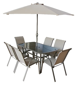 Copenhagen 8pce Rect Set W/Parasol Table &Parasol Brn Box W/Col