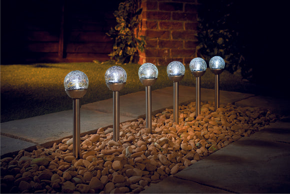 Mini Crackle Ball Post Light (Ss) White Led