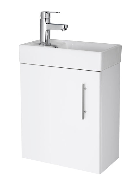 400 Wall Hung Minimalist Compact Vanity Unit & Basin White