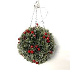 Red Berry Snow Effect Topiary Ball with Lights
