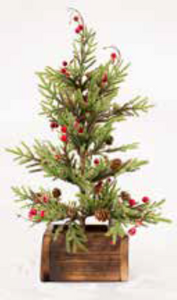 Red Berry Christmas Pine Tree Medium