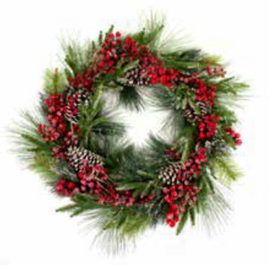 75cm Red Berry & Pine Cone Christmas Wreath