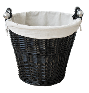 Round Wicker Basket with Chrome Handles