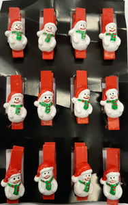 Christmas Card Clips Snowman Pack of 12