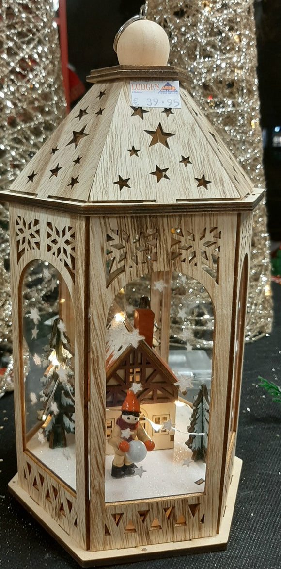 Traditional Wooden Lantern with Scene