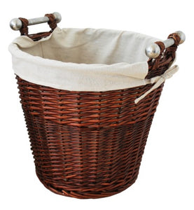 Round Wicker Basket with Chrome Handles Honey