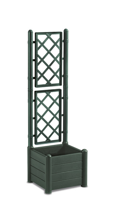 Italia Square Flower Box W/Espalier col. Green