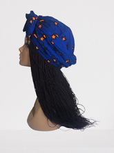 Load image into Gallery viewer, Blue Ready-made  Ankara headwrap