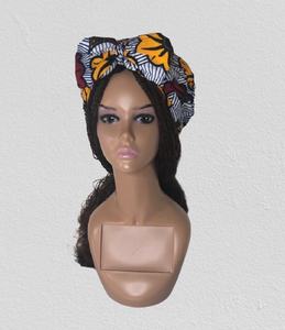 White Ready-made  Ankara Headwrap