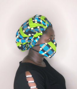 Olive bonnet-wrap
