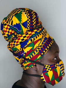 kente Headwrap and facemask - Bnikkycouture