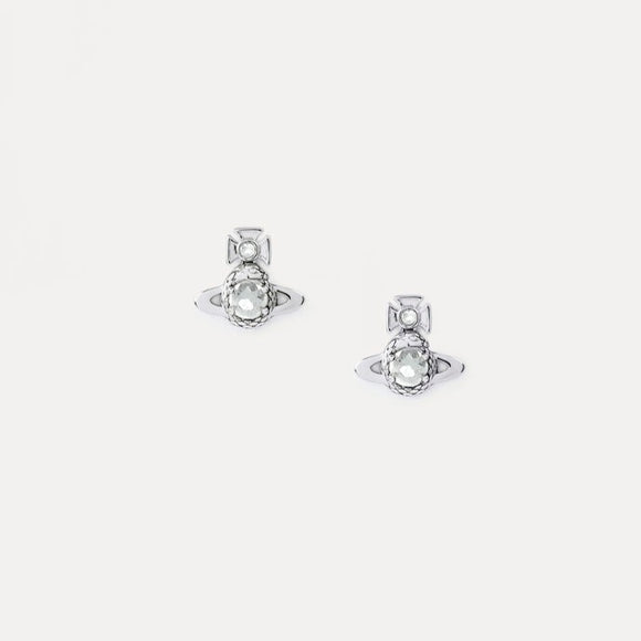 Vivienne Westwood Ouroboros Small Silver Tone Earings