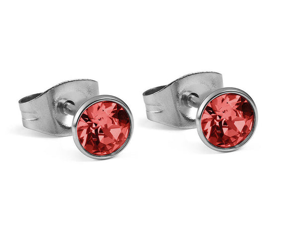 Qudo Silver Bottone Earrings In Padparadscha