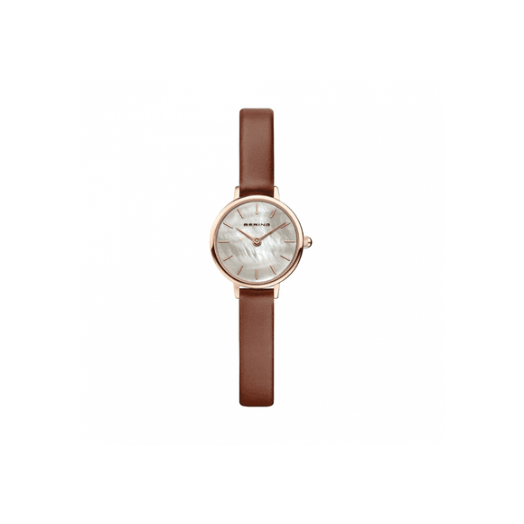 Bering Classic Brown Leather Rose Gold Watch