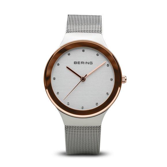 Bering Classic Polished Rose Gold And Silver Watch, 12934-060.