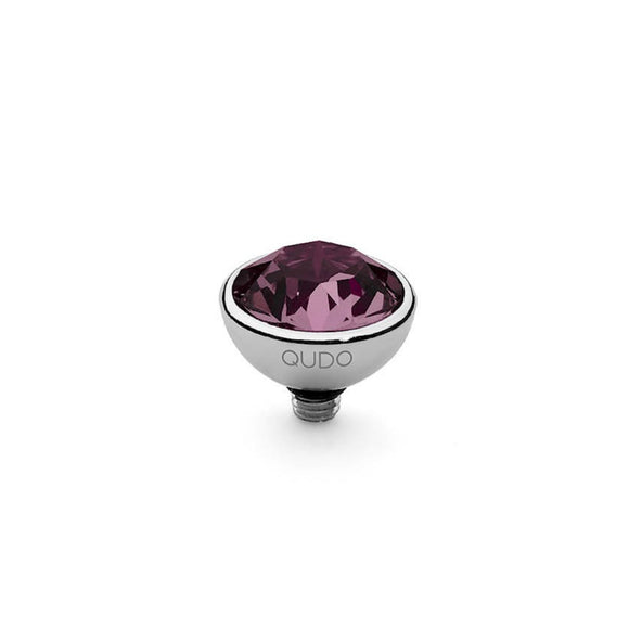 Qudo Silver 10mm Bottone Ring Top In Amethyst