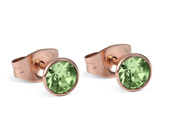 Qudo Rose Gold Bottone Earrings In Peridot