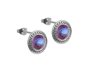 Qudo Silver Tondo Deluxe Earrings In Burgundy Delight