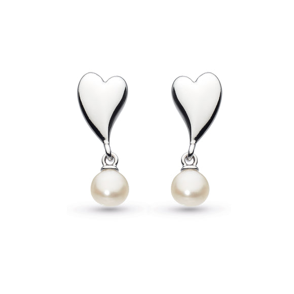 Kit Heath Silver Mini Heart Freshwater Pearl Droplet Stud Earrings