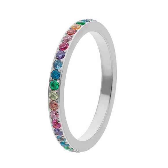 Qudo Silver Small Multi-coloured Eternity Ring