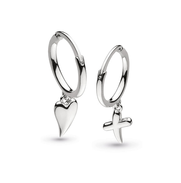 Kit Heath Silver Kiss And Heart Hoop Earings