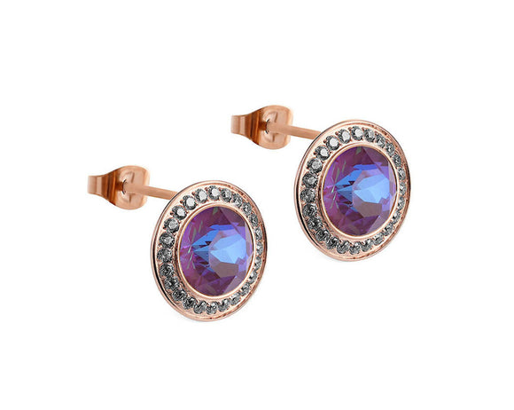 Qudo Rose Gold Tondo Deluxe Earrings In Burgundy Delight