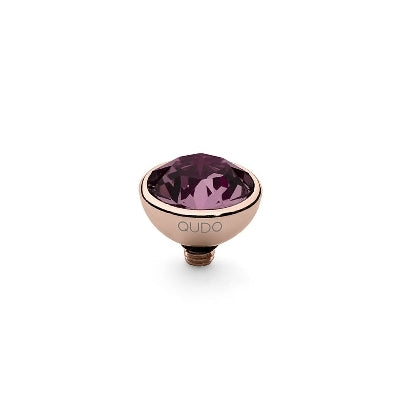 Qudo Rose Gold 10mm Bottone Ring Top In Amethyst