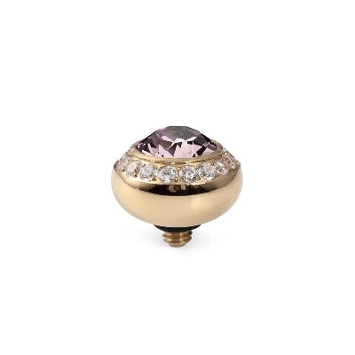 Qudo Gold 10mm Tondo Deluxe Ring Top In Light Amethyst