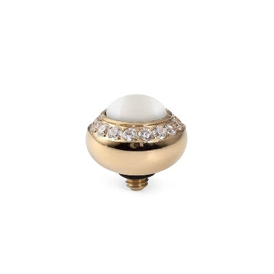 Qudo Gold 10mm Tondo Deluxe Ring Top In White Pearl