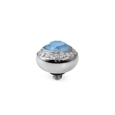 Qudo Silver 10mm Tondo Deluxe Ring Top In Summer Blue