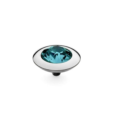 Qudo Silver 13mm Tondo Ring Top In Indicolite