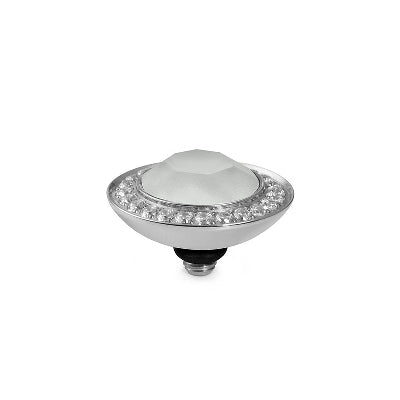 Qudo Silver 13mm Tondo Deluxe Ring Top In Powder Grey