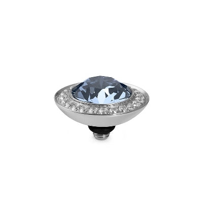 Qudo Silver 13mm Tondo Deluxe Ring Top In Light Sapphire