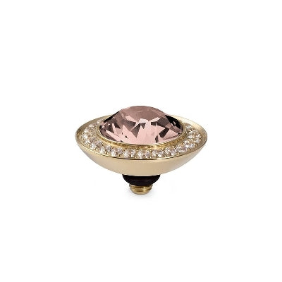 Qudo Gold 13mm Tondo Deluxe Ring Top In Vintage Rose
