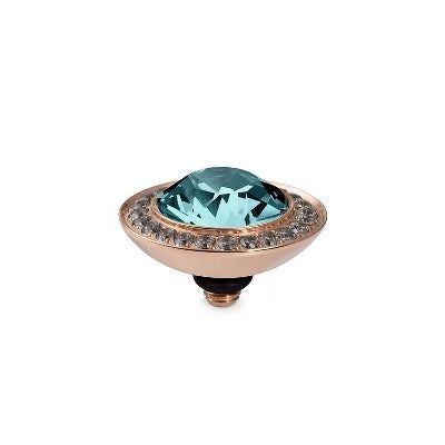 Qudo Rose Gold Tondo Deluxe Ring Top In Light Turquoise