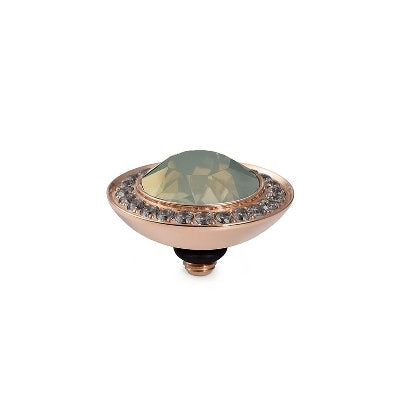 Qudo Rose Gold Tondo Deluxe Ring Top In Grey Opal