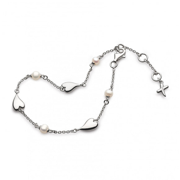 Kit Heath Silver Mini Heart Freshwater Pearl Bracelet