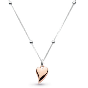 Kit Heath Silver and 18ct Rose Gold Plated Heart Necklace