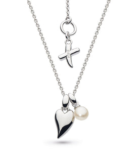 Kit Heath Silver Mini Heart And Pearl Necklace