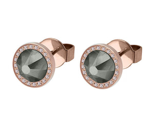 Qudo Rose Gold Canino Deluxe Earrings In Black Diamond