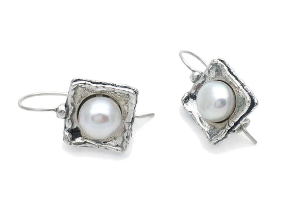Aviv Silver Pearl Drop Earrings