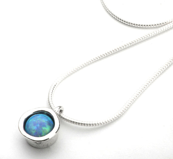 Aviv Silver Round Opal Necklace